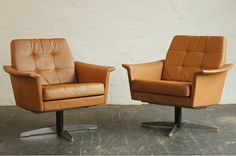 1970s Danish Leather Swivel Chairs