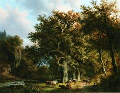 Barend Cornelis Koekkoek - Vee bij een beek