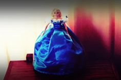 My first hand sewn barbie doll as Cinderella Gown from the latest 2015 movie.