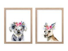 Australian Animals with Flower Crowns Art Prints, Set of Girl's Nursery wall art, Kangaroo Koala bedroom wall prints, aussie home decor Animal Bedroom, Animal Nursery, Australian Animals, Australian Art, Australian Nursery, Crown Art, Wall Drawing, Nursery Wall Art, Bedroom Wall