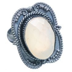 Natural Chalcedony Oxidized 925 Sterling Silver Ring Size 8.25 RING730561