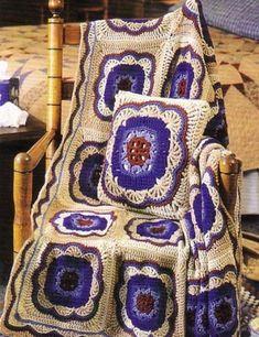 Large Flower Motif Afghan free crochet graph pattern