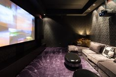 dark but interesting print on wall, fun purple carpet, shaggy, comfy looking, comfy looking sofas (need places to put food/drinks, tho), great theater room.