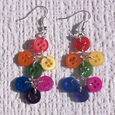 Rainbow Dangle Button Earrings