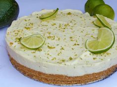 Avocado & Lime Cheesecake Recipe.  I don't want to sound cheesy but this recipe is a piece of cake.  #food #recipes #cooking #avocado #lime #cheesecale