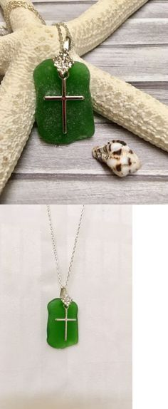 Necklaces and Pendants 110655: Handmade Genuine Sea Glass Necklace With Cross Charm Beach Jewlery Religous -> BUY IT NOW ONLY: $32.98 on eBay!