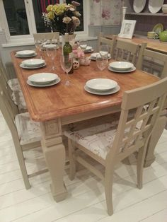 Large Unique Bespoke Shabby Chic French Farmhouse Table with mismatched 8 Chairs. Painted with Annie Sloan chalk paint in the 'Country Grey' shade, sympathetically distressed and a clear wax finish. Another beautifully quirky set from Chic Boutique Furniture in Leicester.