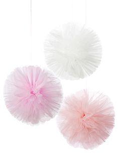 Party Ark's 'Pink & White Tulle Pom Poms'