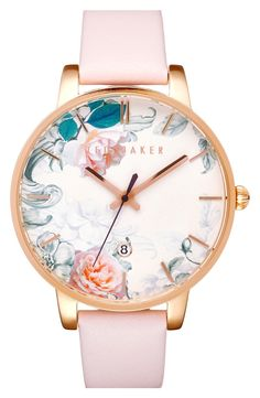 So in love with this adorable watch from Ted Baker! Lush blooms in soft pastel shades flourish on the gilded round dial with slender indices and a coordinating soft leather band.