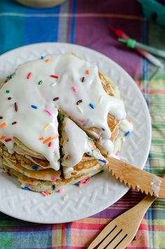 After today, I have no doubt that you now want to be my real-life friend or relative, because I plan on making these pancakes for anyone who is at my house the morning of their birthday.  For reals. These are sweet and sprinkly and can be frozen ahead! Save some sprinkles for on top (I forgot and just dumped in the whole bottle)!!