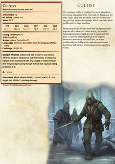 Cultist stats