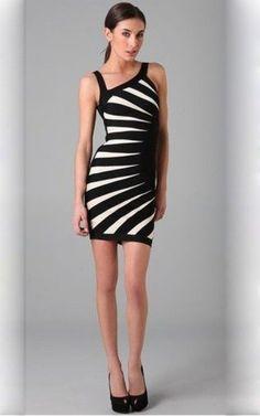 2a1d00c34559 Black White Contrast Striated Herve Leger Bandage Dress Dress P