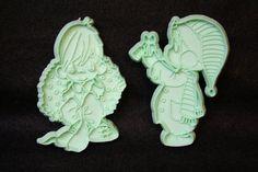 1991 Precious Moments Christmas Cookie Cutters Aqua by artzybitz
