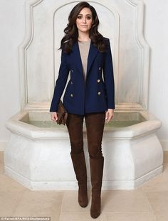 Preppy: Emmy Rossum went for an equestrian inspired look at the Ralph Lauren and Vogue: Celebrate Iconic Style event in Los Angeles on Wednesday