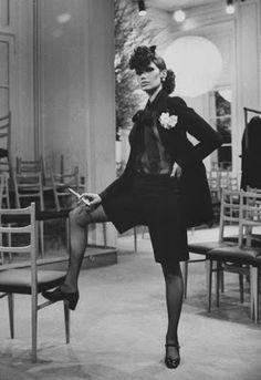Danielle Luquet de Saint Germain modelling Yves Saint Laurent, 1968