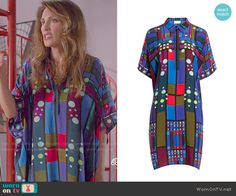 Calista's blue geometric printed kaftan on Mistresses.  Outfit Details: http://wornontv.net/50966/ #Mistresses