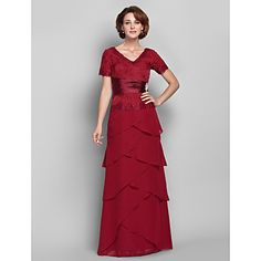 Sheath/Column+V-neck+Floor-length+Chiffon+And+Lace+Mother+of+the+Bride+Dress+(568156)+–+GBP+£+139.19