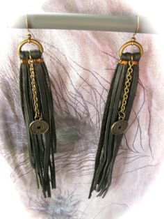Leather Tassle Earrings