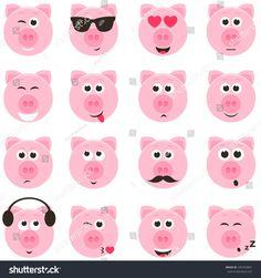 stock-vector-pig-smiley-faces-set-435763867.jpg 1,500×1,600 pixeles