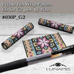 Peyote pen cover patterns, pattern for G2 pen by Pilot, pen wrap, peyote patterns, beading, peyote stitch, digital file, pdf pattern #030PG2