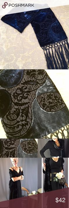 """Kevin O'Brien Opera Silk/Rayon/Fringe Blk Scarf 🎭 Absolutely Sublime Black Opera/Theater/Red Carpet/Gala Silk/Rayon 'Velvet' burnout scarf by Kevin O'Brien. 100% silk underside & fringe tasseling. This piece is Vintage in that it was purchased c. late 80s. It's from a family member's closet & purchased from a very special boutique. Ideal for adding true, understated elegance to nearly any outfit; highest quality craftsmanship. Dry clean only. With fringe, L 82.25"""" Please enjoy this special…"""