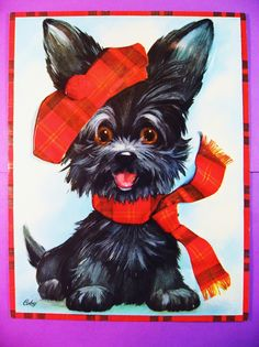 Scotty, Scottie Puppy, Large Vintage Greeting Card Unused w/Envelope, Adorable