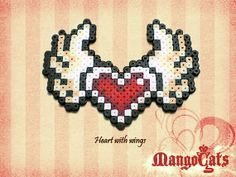 Valentine's day heart with wings perler  bead sprites by MangoCats