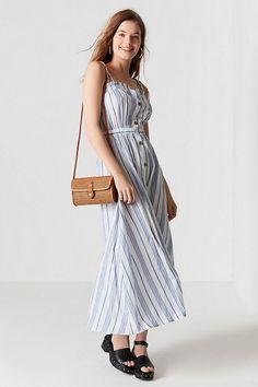 9d606cfe3b3 Moon River Tie-Shoulder Button-Down Midi Dress