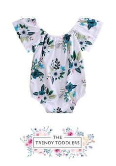 e8f339584c622 SALE 55% OFF + FREE SHIPPING! SHOP Our Green Floral Romper for Baby  . The  Trendy Toddlers