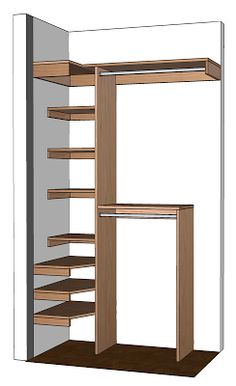 interior de pequeño placard DIY Small Closet Organizer Plans