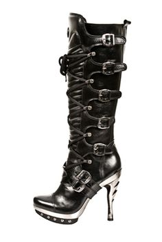 New Rock Knee High Goth Biker Metal Heel Strap Boot.  Punk 005 - S1