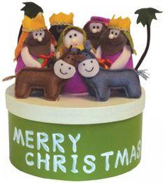 "Manger nativity scene in a round box ""Merry Christmas"" Felt figures"