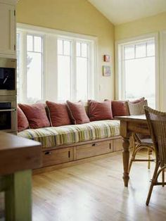 window seat in a sunny kitchen