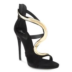 Giuseppe Zanotti     I20265 001     Black suede sandals with a small platform and an articulated accessory reminiscent of a slithering snake. These elegant, refined sandals are absolutely sensational on. Impossible not to fall in love with.