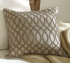 Must learn how to bead like this! Veronica Beaded Pillow Cover #potterybarn