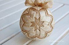 Handmade Gold Metallic Snowflake Quilted Ball Christmas Tree Ornament Bulb
