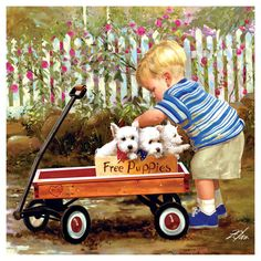 Joys of Childhood Puppy Love by Donald Zolan ~ toddler boy with Westie puppies in wagon