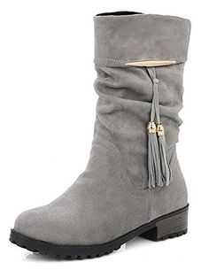 Women's Stylish Solid Round Toe Tassel Low Chunky Heel Slouchy Pull On Mid Cuff Boots