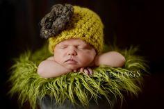 Citron Yellow Newborn Flower Cloche Hat | Beautiful Photo Props