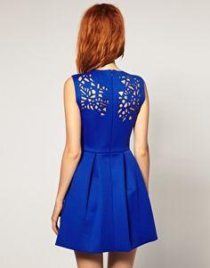 ASOS BLACK Neoprene Laser Cut Waisted Dress in colbalt blue...i want!