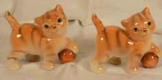 VINTAGE CAT FIGURINES ORANGE TABBY KITTIES MADE IN JAPAN.
