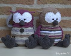 Funny owls designed by Stip & HAAK. Pattern for sale