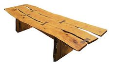 George nakashima Table One day.I love the primitive look of this table and the beauty of the knots in the wood and how he made the joints part of the table surface instead of hiding them. Living Furniture, Rustic Furniture, Table Furniture, Garden Furniture Design, Arts And Crafts Furniture, Natural Furniture, Rustic Bench, Wood Slab, Wood Planks
