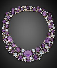 I Love Jewelry Estate Jewelry, Colored Gemstones, Amethyst and Aquamarine Necklace by Verdura ~ M. Purple Jewelry, I Love Jewelry, Jewelry Necklaces, Fine Jewelry, Jewelry Design, Jewlery, Gold Jewellery, Jewelry Armoire, Antique Jewelry