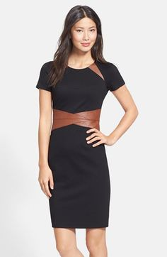 Nue by Shani Faux Leather & Ponte Sheath Dress available at #Nordstrom