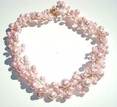 LIONA - Swarovski Pearls Bridal Necklace in Gold 100% Handmade in USA Choose Your Finish and Pearl Color  www.OliniBridal.com
