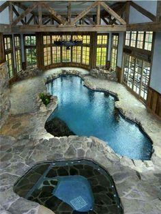 Indoor stone-surrounded pool and separate spa - sublime!
