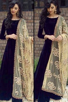 Readymade Black Velvet Anarkali Suit With Dupatta Online - Black Velvet Anarkali Suit With Dupatta Pakistani Dresses Casual, Indian Gowns Dresses, Pakistani Dress Design, Party Wear Dresses, Dress Outfits, Fashion Dresses, Designer Anarkali Dresses, Designer Dresses, Indian Attire