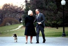 "Did you know that the birthdays of Barbara Bush and George H.W. Bush are just 5 days apart?  On June 8 1925, Barbara Pierce was born; former President Bush was born on June 12, 1924.  Birthday cheers to both!  ""Never lose sight of the fact that the most important yardstick of your success will be how you treat other people - your family, friends, and coworkers, and even strangers you meet along the way."" -Barbara Pierce Bush  Picture of President and Mrs. Bush walking with their dog Millie. …"
