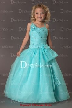 Lovely Rosettes Accenting Chiffon Flower Girl Gown